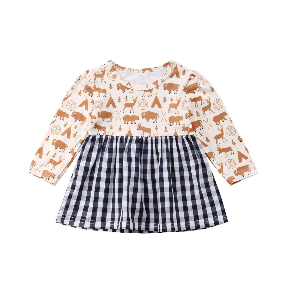 Princess Girls Clothes Long Sleeves Baby Kids Dress Animal Print Plaid Dress