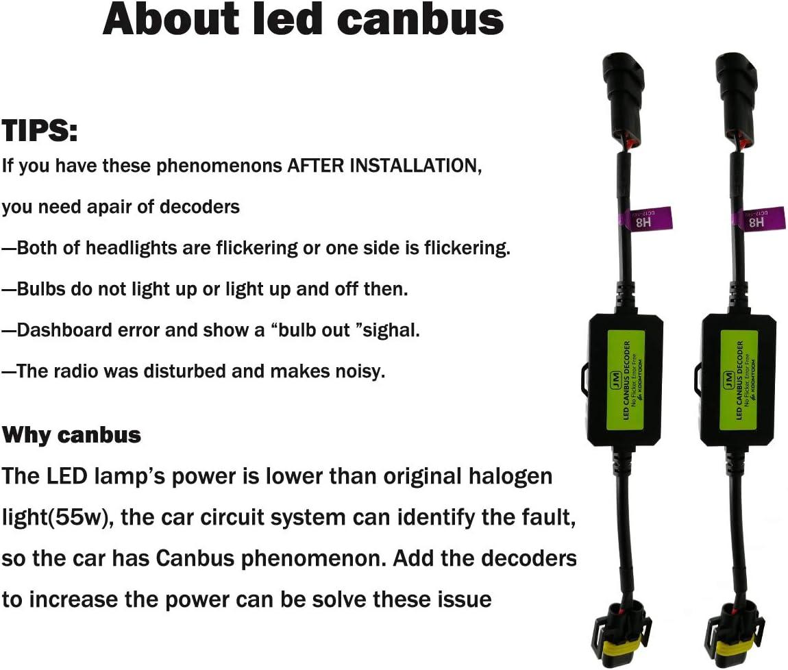 KOOMTOOM H4//9003 LED Decoder Resistor Adaptateur de harnais Canbus pour ampoules de phares Erreur davertissement CMC Canceler Decoder H4
