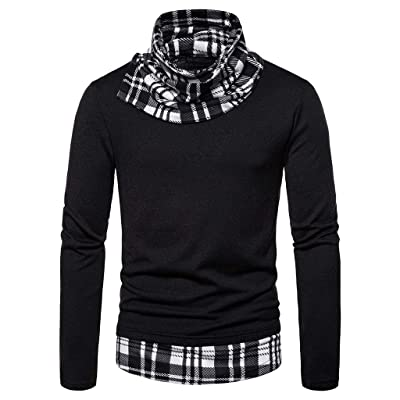 WINJUD Mens Pullover Cowl Neck Plaid Splice Fit Slim Tops Turtleneck Long Sleeve Sweatshirts at Men's Clothing store