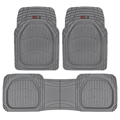 Motor Trend MT-923-GR Flextough Contour Liners - Deep Dish Heavy Duty Rubber Floor Mats for Car Suv Truck and Van - All Weather Protection, Gray: Automotive