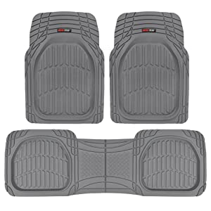 Motor Trend MT-923-GR Flextough Contour Liners - Deep Dish Heavy Duty Rubber Floor Mats for Car SUV Truck and Van - All Weather Protection, Gray