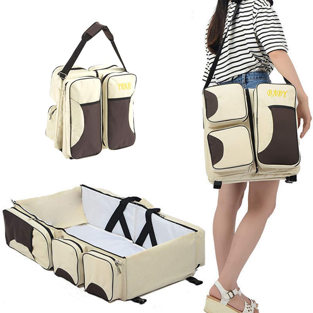 Gtagain 3 in 1 Diaper Bag Travel Bassinet Foldable Baby Travel Cot Bed Change Station Infant Home Outdoor Carry Cot Crib for 0-12 Months