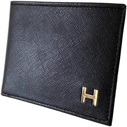 New Tommy Hilfiger Men's Pebble Leather Billfold Passcase & Valet Wallet (Black)
