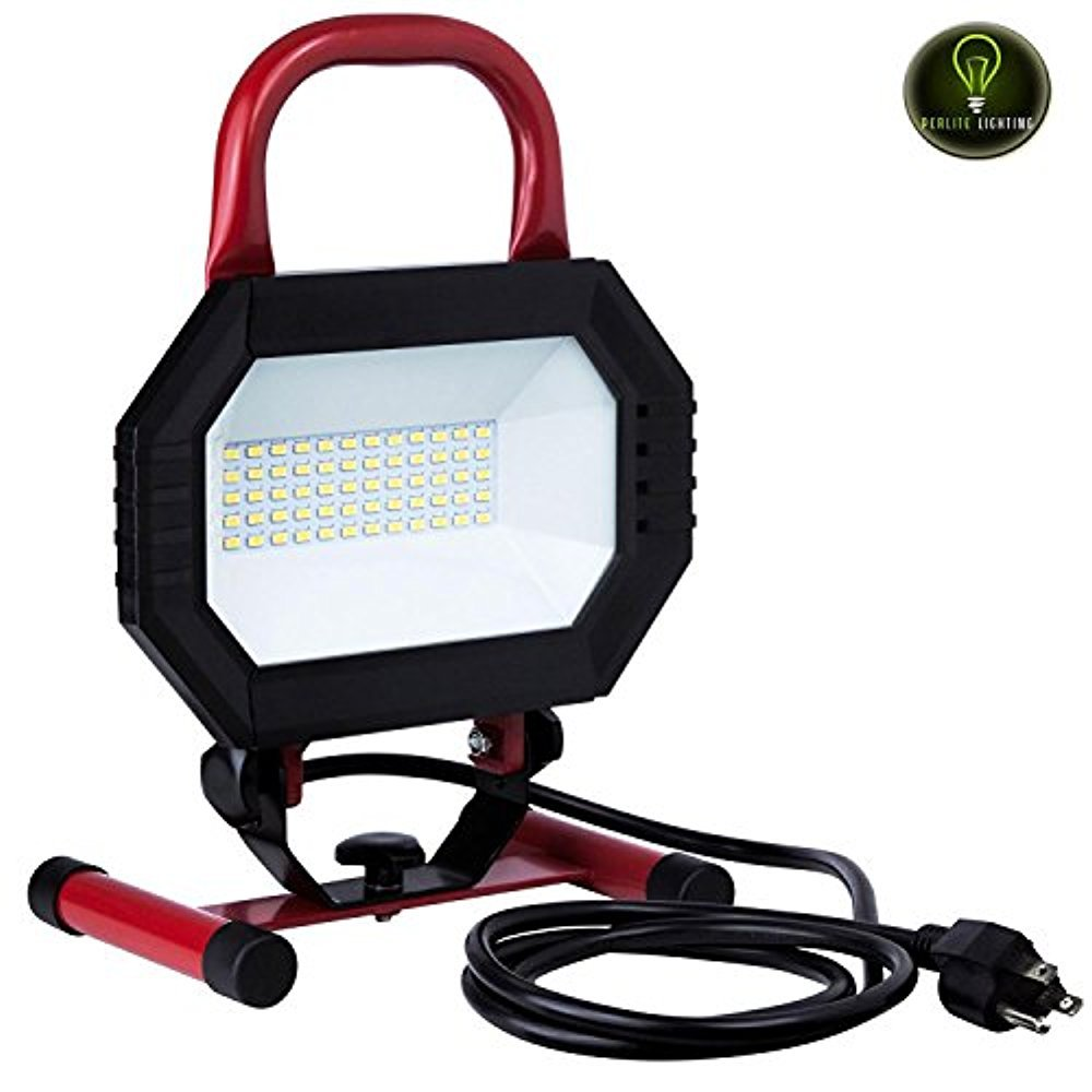 Perlite Lighting LFX/WL/30W/W 30-Watt Portable Work Light Black/Red Finish LED Fixture