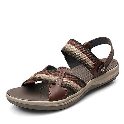 Herren Rund Toe Baotou Sandalen Leichte Bequeme Sommer Atmungsaktive Klettverschluss Schnalle Sandaletten Schwarz 39 EU YPCCq1Y1