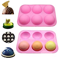 1Pack Semi Sphere Silicone Mold, DIY Nonstick Cake Mold, Baking Mold for DIY Baking, Cupcake,Chocolate, Jelly, Pudding, Handmade Soap,Fondant, Bakeware Kitchen Tools (Pink, 1 Pack)
