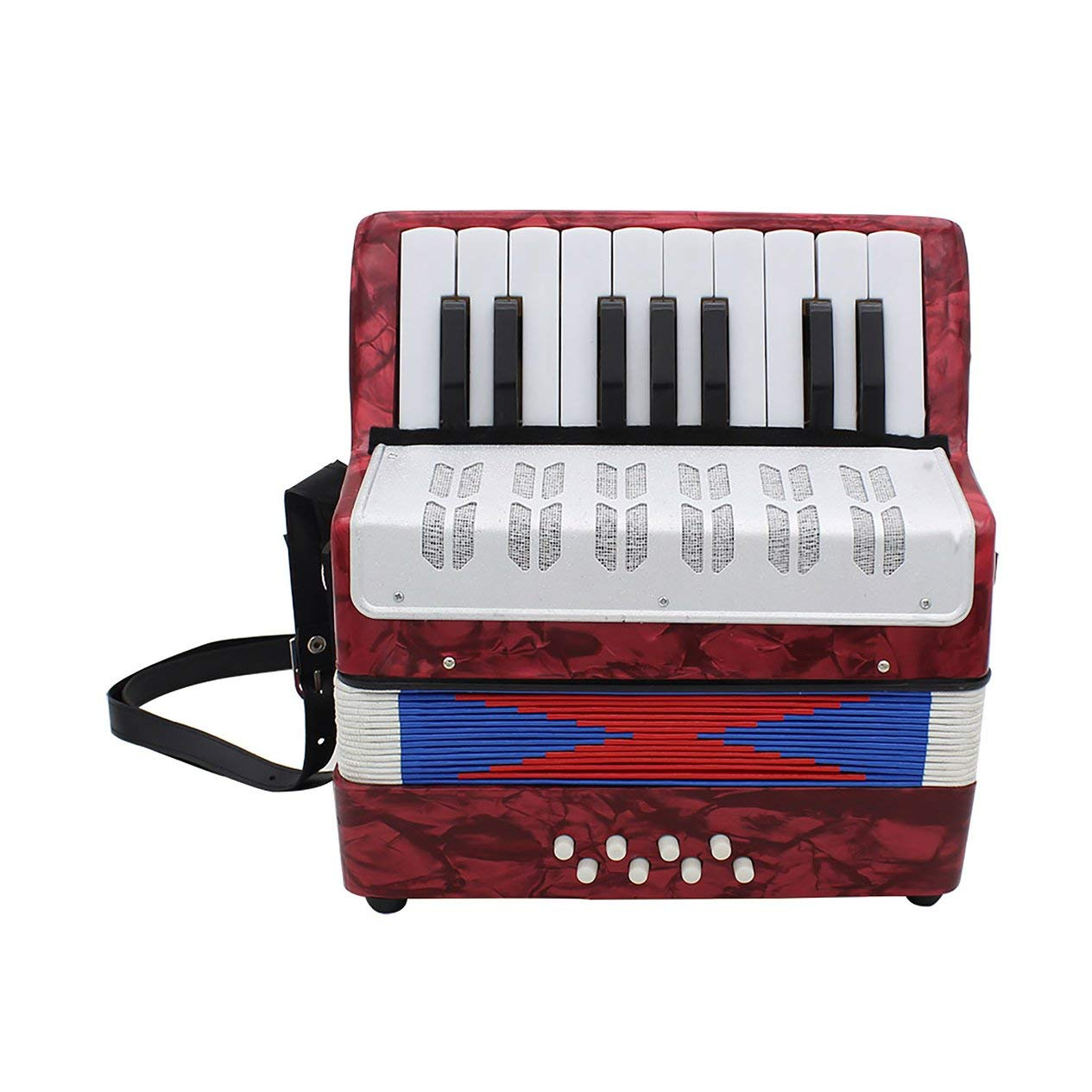 17-Key 8 Bass Accordion Musical Toy for Educational Musical Instrument Simulation Learning Concertina Rhythm