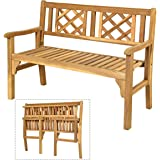 Giantex Patio Wooden Bench, 4 Ft Foldable Acacia Garden Bench, Two Person Loveseat Chair Solid with Curved Backrest and Armre