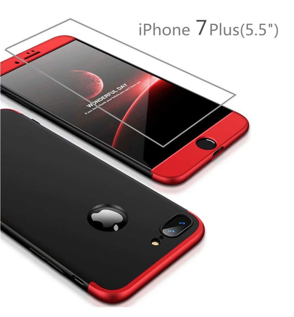 AILZH Funda iPhone 7+Pel/ícula Vidrio Templado Cubierta 360 Grados Caja protecci/ón de c/áscara Dura Anti-Shock Anti-rasgu/ño del Protector Completo del Cuerpo 360/°Caso Mate 4.7 Negro Plateado