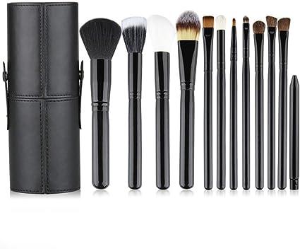 Set de brochas de maquillaje profesional 12 piezas Pinceles de maquillaje con estuche de viaje Set Premium Synthetic Foundation Brush Blending Face Powder Blush Concealers Kit de pinceles (negro): Amazon.es: Belleza