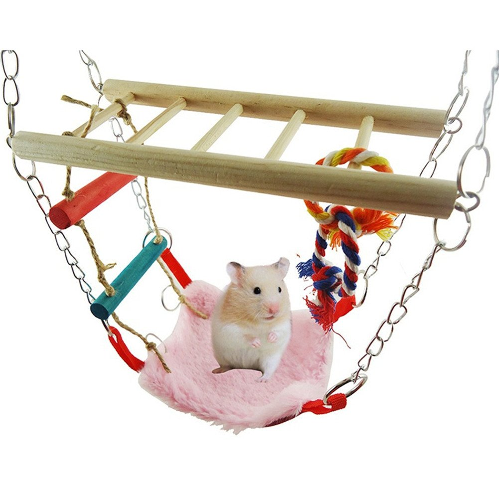Hamster Rat Hanging Swing Toy Mice Small Animals Wooden Ladder Bridge Cage Toy