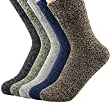 Century Star Women's Vintage Winter Soft Wool Warm Comfort Cozy Crew Socks 5 Pack 5 Pairs Solid Color