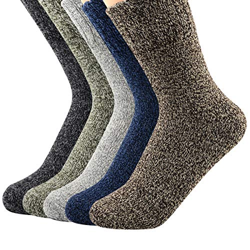 Boot Winter Socks (Century Star Women's Vintage Winter Soft Wool Warm Comfort Cozy Crew Socks 5 Pack 5 Pairs Solid Color)