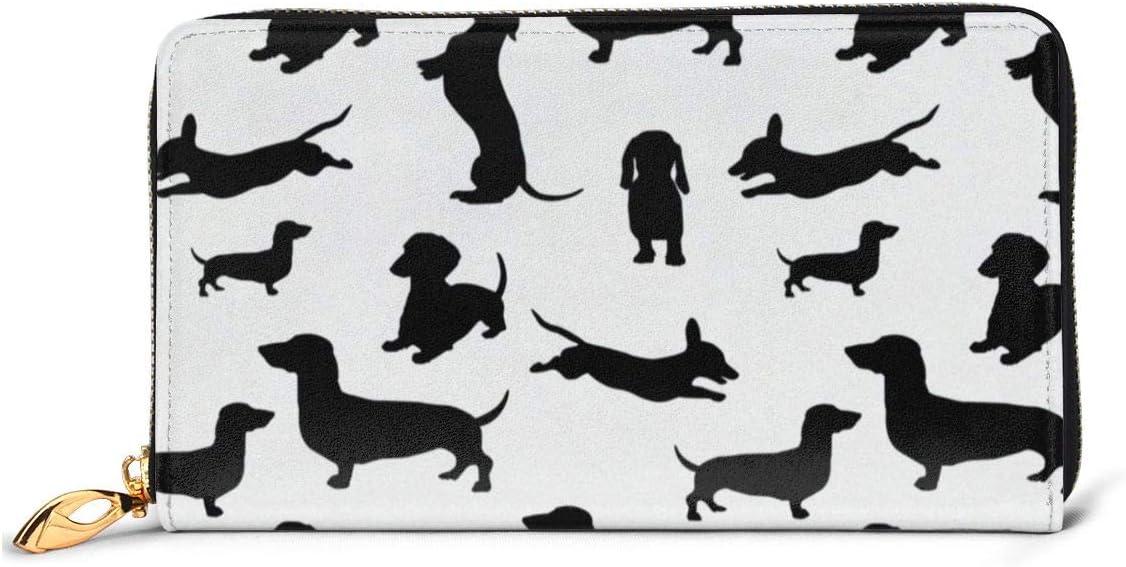 Black Dogs Dachshund Shadow Pattern Womens RFID Blocking Zip Around Wallet Genuine Leather Clutch Long Card Holder Organizer Wallets Large Travel Purse