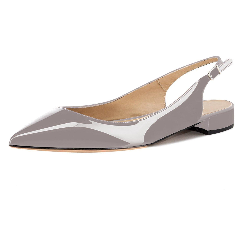 Eldof Women Low Heels Pumps | Pointed Toe Slingback Flat Pumps | 2cm Classic Elegante Court Shoes B07C4T2RQJ 6.5 B(M) US|Patent Gray
