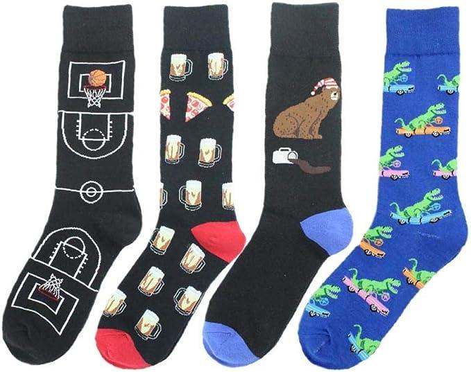 NKJBUVT 85% Algodón Calcetines Divertidos Hombres Harajuku Moda Creativa Dibujos Animados Baloncesto Pizza Calle Hip Hop Calcetines De Marea Feliz: Amazon.es: Ropa y accesorios