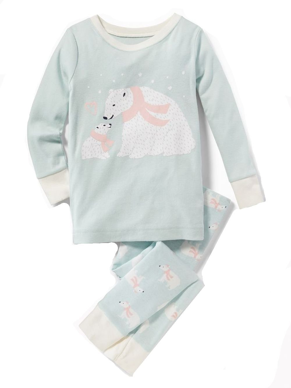 Toddler Girl's 4T Mint Green Mom and Baby Polar Bear Pajama Set