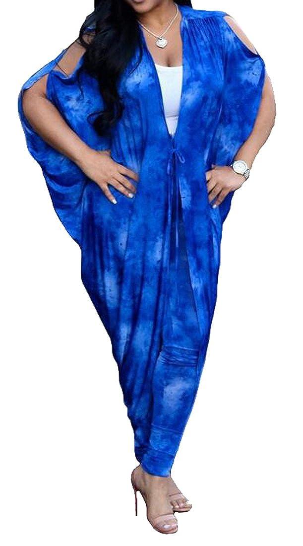Jotebriyo Womens Floral Print Batwing Sleeve 2 Pcs Lace-Up Cold Shoulder Jumpsuit Romper