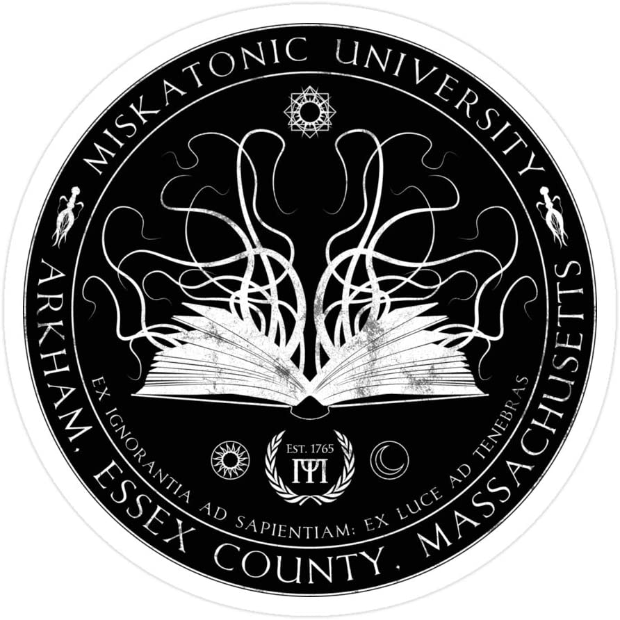 Sneaky Cover (3 PCs/Pack) Miskatonic Sigil 3x4 Inch Die-Cut Stickers Decals for Laptop Window Car Bumper Helmet Water Bottle
