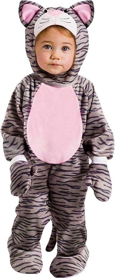 Infant Girls Plush Gray Leopard Print Purfect Kitty Costume Baby Cat Jumper