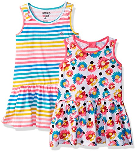 Limited Too Girls' Little Pack Dress, Drop Waist Striped/Floral Jersey Multi Print, ()