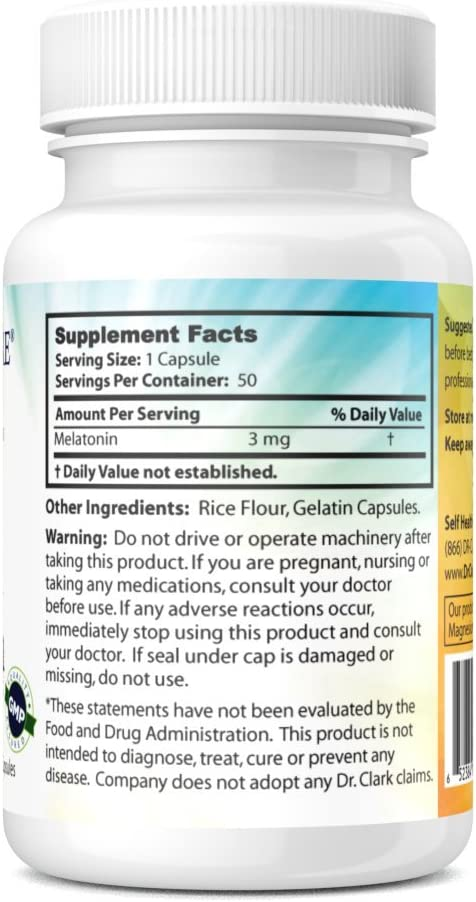 Amazon.com: Dr. Clark Melatonina Suplemento, 3 mg, 50 ...