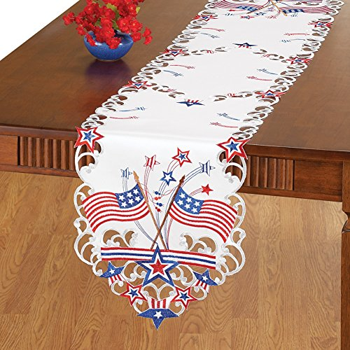 Embroidered Patriotic Americana Linens Runner