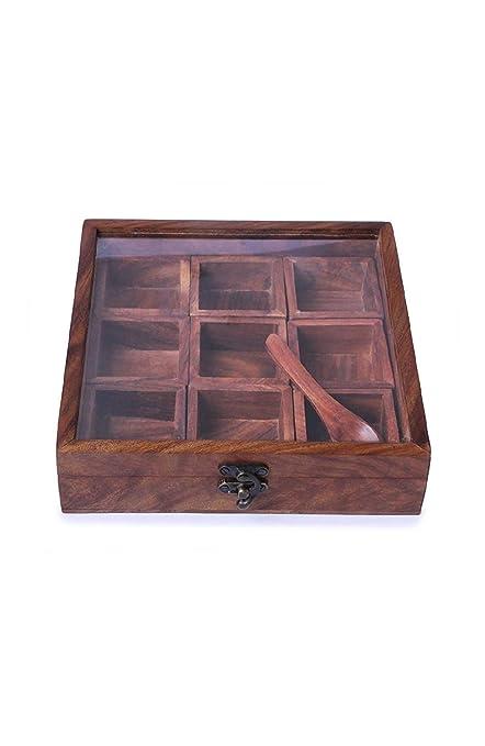 60c45d05f618 FASHION ERA Wooden Utility/Masala Box Spice Box - Sheesham Wood Spice Box  Container - Spice Box Holder(1pc Wooden Spoon Free)