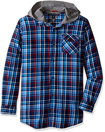 Tommy Hilfiger Little Boys Yates Long Sleeve Hooded Shirt, Flag Blue, - Tommy Kids Sale