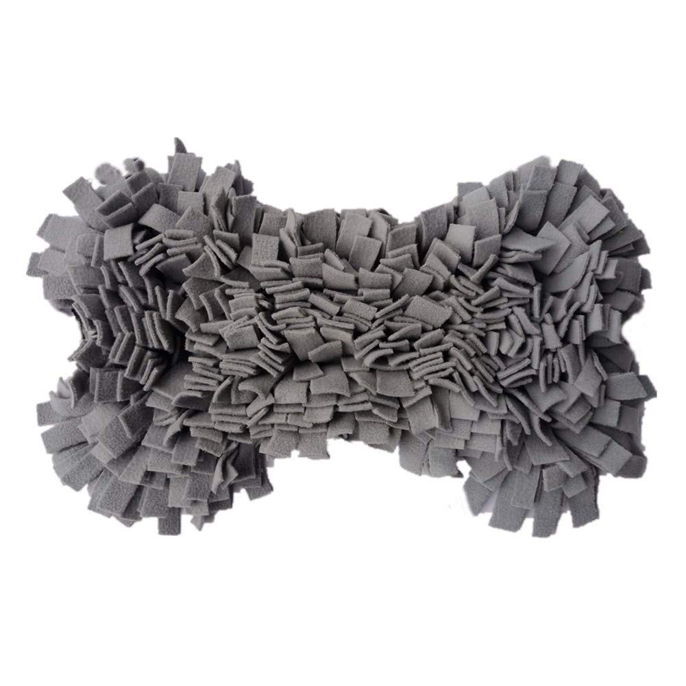 MY-PETS Snuffle Mat for Dogs and Puppies Pet Activity Mat Dog Feeding Mat for Smell Training Anti Slip Sniffing Pad Foraging Blankets Dog Toys for Boredom Release Bone Design (Yellow/Grey) (Grey)