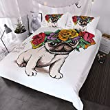 BlessLiving Pug Rose Duvet Cover 3 Piece Adorable Puppy and Floral Design Bedding Unique Cute Bedding Set for Women Girls (Queen)