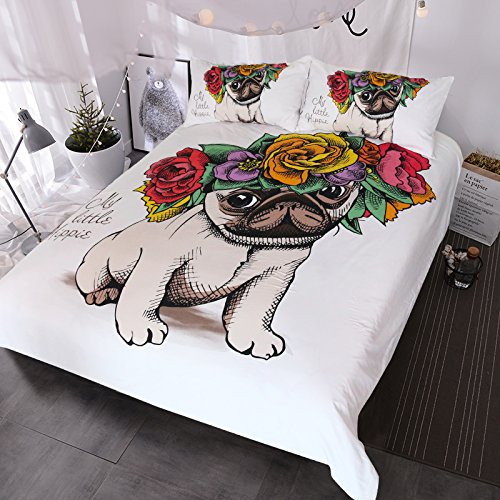 BlessLiving Pug Rose Duvet Cover 3 Piece Adorable Puppy and Floral Design Bedding Unique Cute Bedding Set for Kids Boys Girls - Set Puppy Overall
