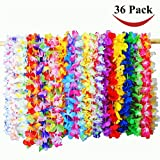Kehome 36 Pack Tropical Hawaiian Leis Ruffled Flowers Necklaces For Party Supplies, Beach Party Decorations, Birthday Party Favors