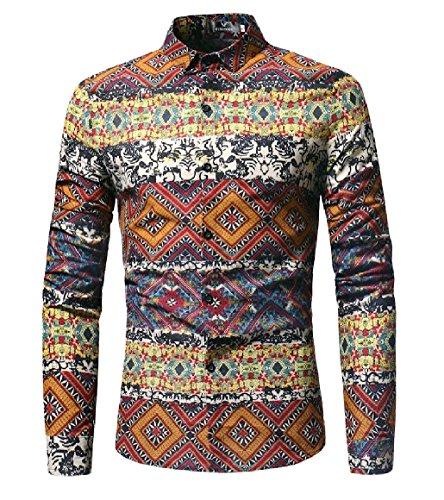 SportsX Men Printing Long Sleeve Geometric Button Down Tee Dress Shirts Pattern1 S (Dress Shirt Geometric)