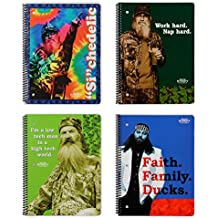 """4 Duck Dynasty Spiral Bound Notebooks - 90 Wide Ruled Sheets 10.5"""" x 8"""" - Duck Dynasty Merchandise, Si Notepads, Faith Family Ducks Journals"""