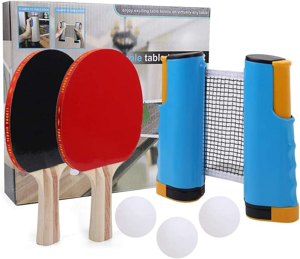 qingqingR Sturrly Set Profesional de paletas de Ping Pong con Abrazaderas de Red retráctiles Ba