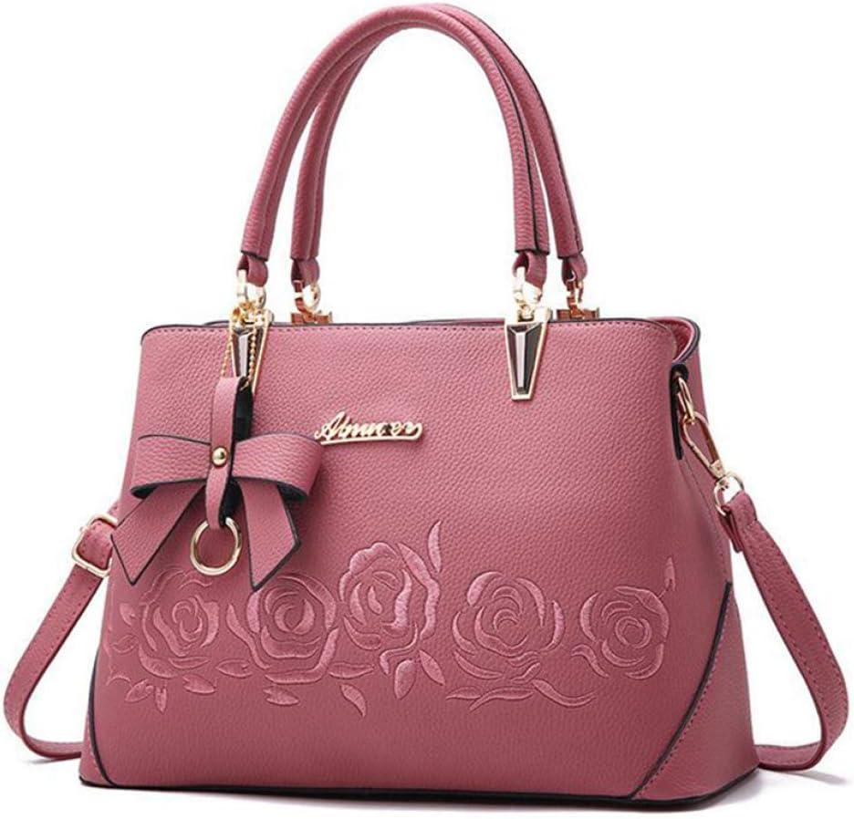 HJJSKK Borsa da donna retrò borsa a mano casual moda signora messenger bag a spalla portatile portafoglio in pelle Rosa