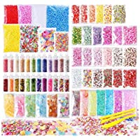 72 Pack Slime Stuff Charms Include Floam Balls, Slime Supplies Kit, Glitter, Cake Flower Fruit Slices, Fishbowl Beads…