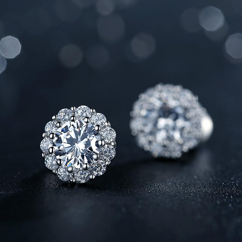 Amazon: Bamoer Cubic Zirconia Platinum Plated Flower Design Round Stud  Earrings: Jewelry