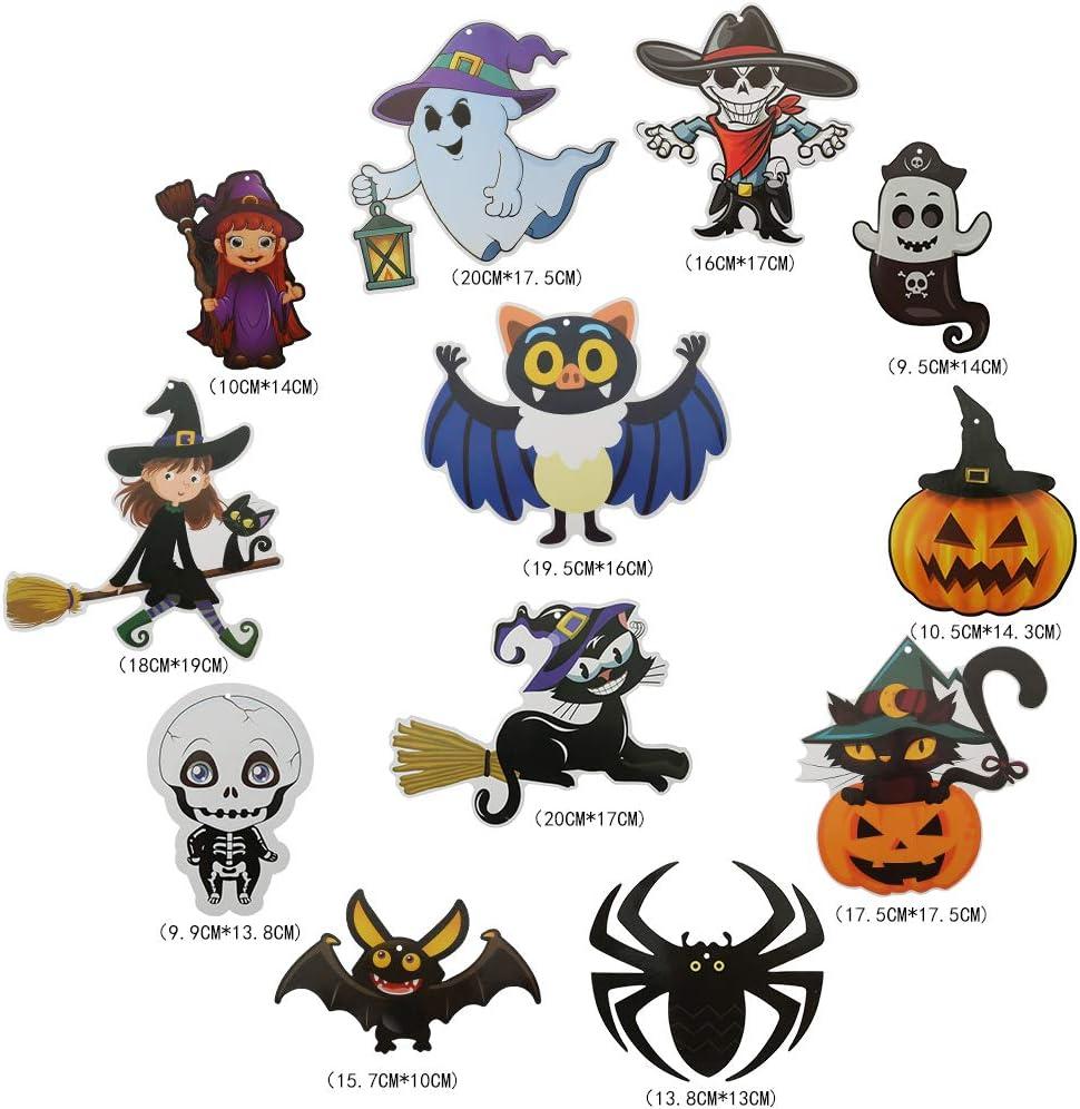 Meifyomng 12 Pcs Halloween Spiral Decoration Hanging Swirls Ornament Witch Spider Pumpkin Bat for Ghost Festival Party