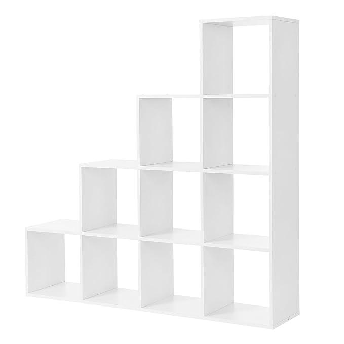 Standregal Bücherregal Aufbewahrung Treppen 10 Würfel-Fächer Regal LBC10WTV1