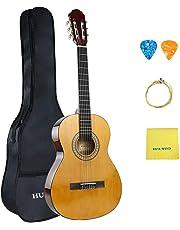 HUAWIND Classical Guitar Nylon Strings Full Size 39in Beginner Guitar Kit with Gig Bag, Strings, Picks (Natural Gloss)
