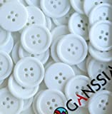 GANSSIA 0.88'' (22.5mm) Buttons Sewing Button Color White Pack of 70 Pcs