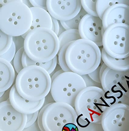 Buttons Sewing Button Color White Pack of 70 Pcs GANSSIA 7//8 22.5mm