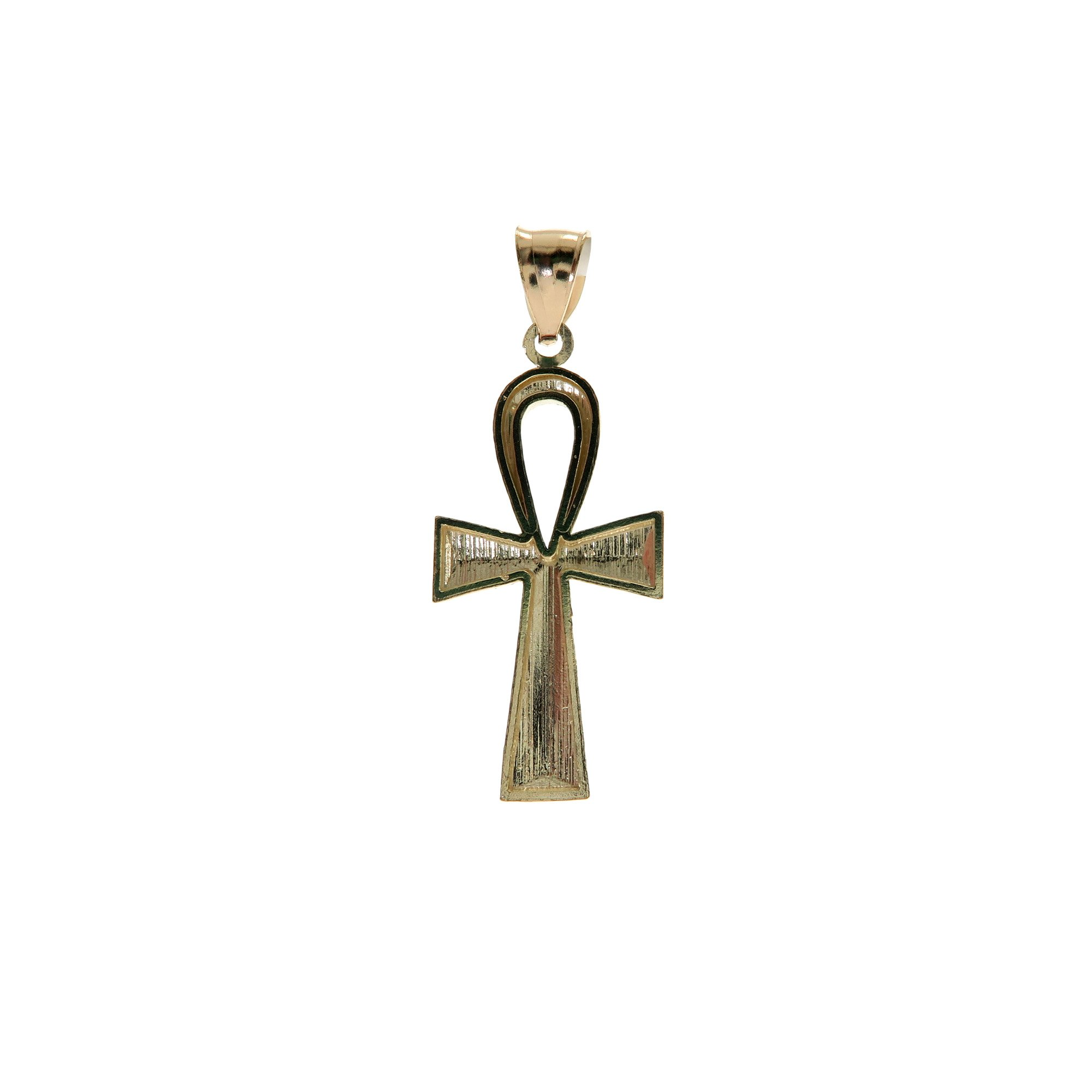 Genuine Stamped Authentic 10K Yellow Two-Tone Gold Charm Pendant Hip Hop Jewelry Gift Christmas Present (Ankh Cross) by Traxnyc (Image #2)