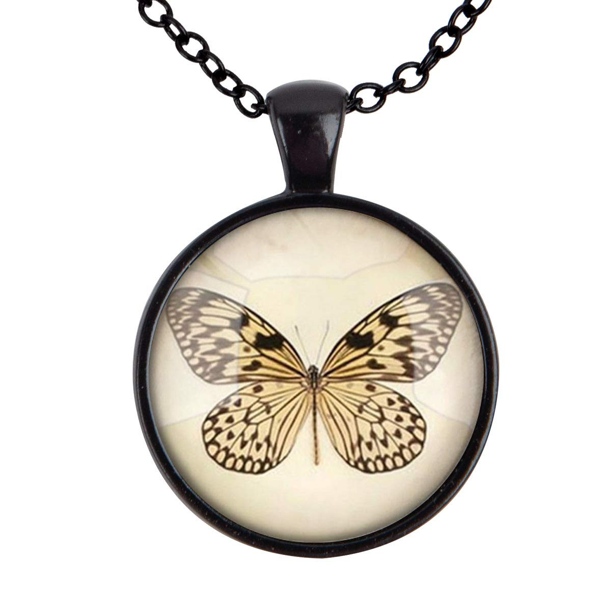 Family Decor Butterfly Photo Retro Style Pendant Necklace Cabochon Glass Vintage Bronze Chain Necklace Jewelry Handmade