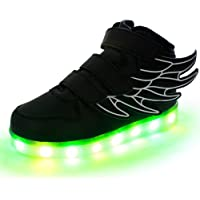 Lumeey 7 Color Kids LED Light Up Shoes Dance Shoes Flashing Sneakers with Wings