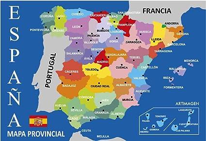 Mapa Provincial De España.Postal Mapa Provincial De Espana Azul 16x11 Cm Amazon Es