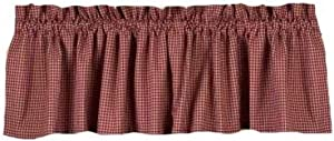"""Home Collection by Raghu Newbury Gingham Barn Red Valance, 72 by 15.5"""""""