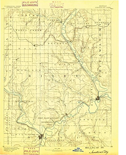 Junction City KS topo map, 1:125000 scale, 30 X 30 Minute, Historical, 1889, 19.7 x 16.01 IN - - Legends Kansas Ks The City